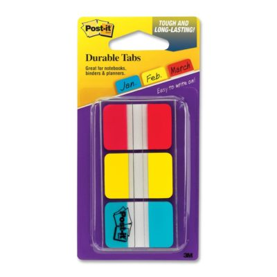 Post-it® Tabs, 1 inch Solid, Red, Yellow, Blue, 12/Color, 36 Tabs/Dispenser