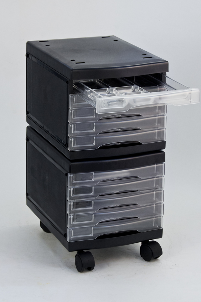 A4 10 drawer | mobile drawer storage & file cabinet with in-built organizer set system 3486 ...